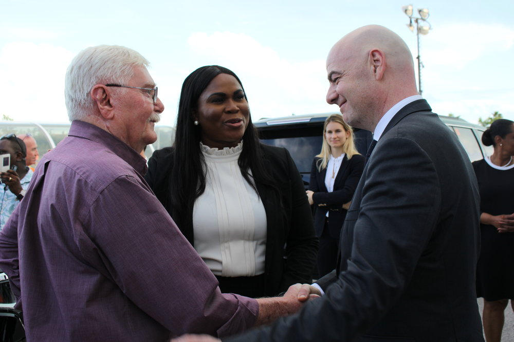 Bengt Soderqvist, TCIFA President Sonia Bien-Aime, FIFA President Gianni Infantino