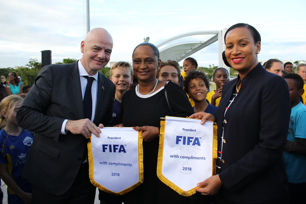 (L-R) FIFA President Gianni Infantino, Hon. Karen Malcolm - Minister of Sports, Her Excellency Hon. Anya Williams - Deputy Governor