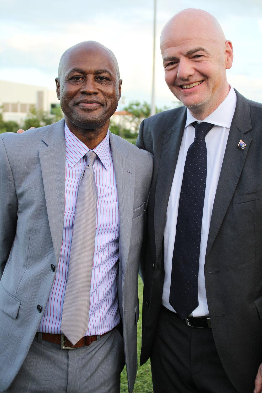 TCIFA General Secretary Oliver Smith and FIFA President Gianni infantino