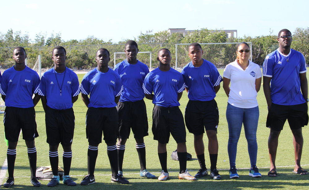 Youth Referees with Executive member and chairman of Referees, Patrice Senior