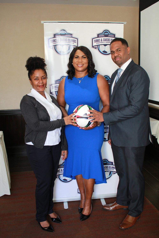 FIFA Senior Development Manager - Stacy Lewis-Daniel, TCIFA President - Sonia Fulford, FIFA Regional Director - Marlon Glean