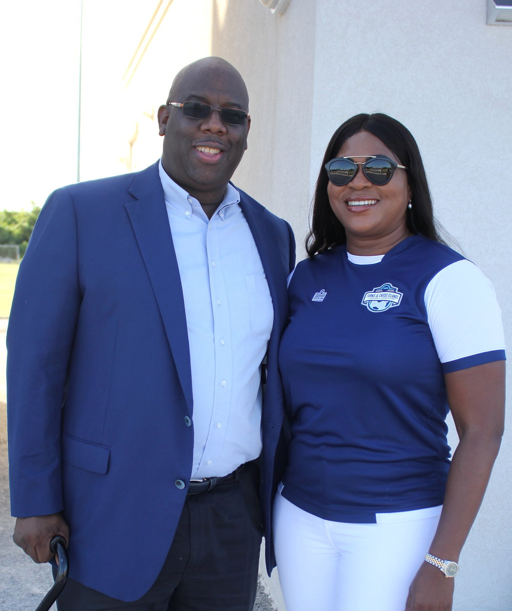 Concacaf Senior Officer, Howard Macintosh, and TCIFA President, Sonia Fulford