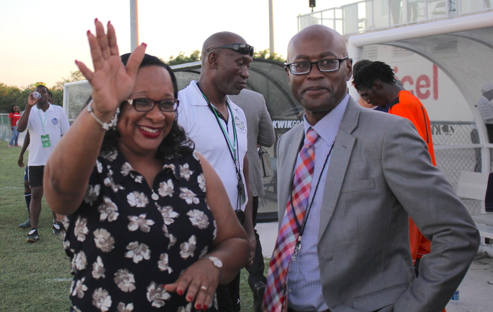 TCi Premier, Hon. Sharlene Cartwright-Robinson and TCIFA General Secretary, Oliver Smith