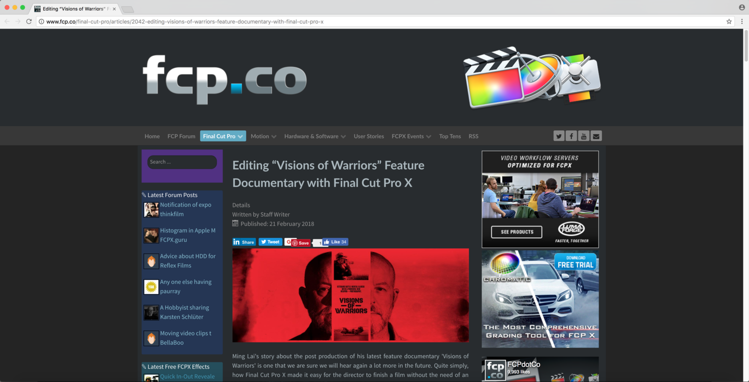 "VISIONS OF WARRIORS"" IS FEATURED AS A USER STORY ON FCP CO"