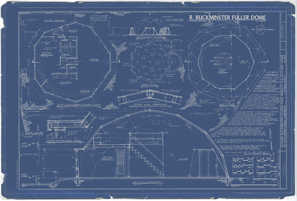 The Holland Prize winning, Fuller Dome Home Blueprint by Thad Heckman; Dome Home VP, architect & SIUC faculty