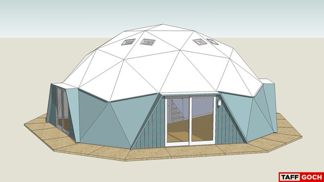 A 3-D rendering of the exterior renovation of the Fuller Dome Home