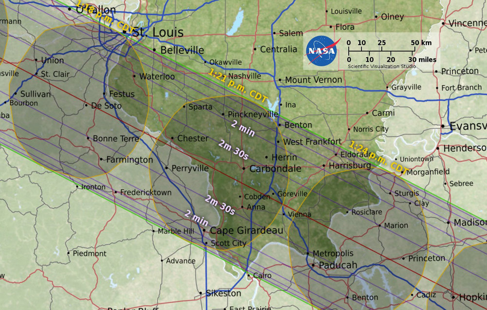 NASA map showing the August 21st, 2017 total solar eclipse transit over Southern Illinois