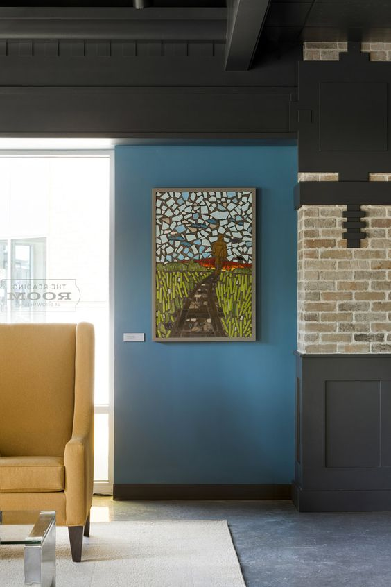 Custom mosaic artwork by    Caron Bell    depicts a nature scene, evoking images and personal connections to both sky and land. / Image Source:    Vela Creative