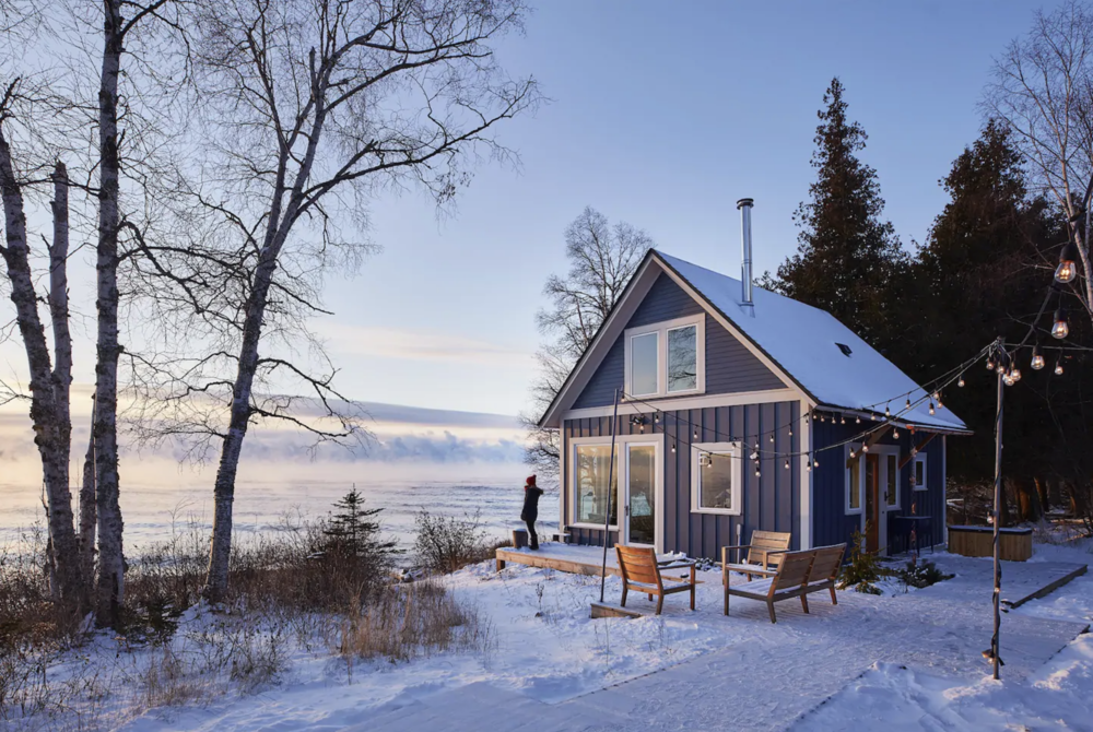 An inviting and cozy little cabin with sweeping Lake Superior views serves as the perfect weekend getaway up north. /  Source