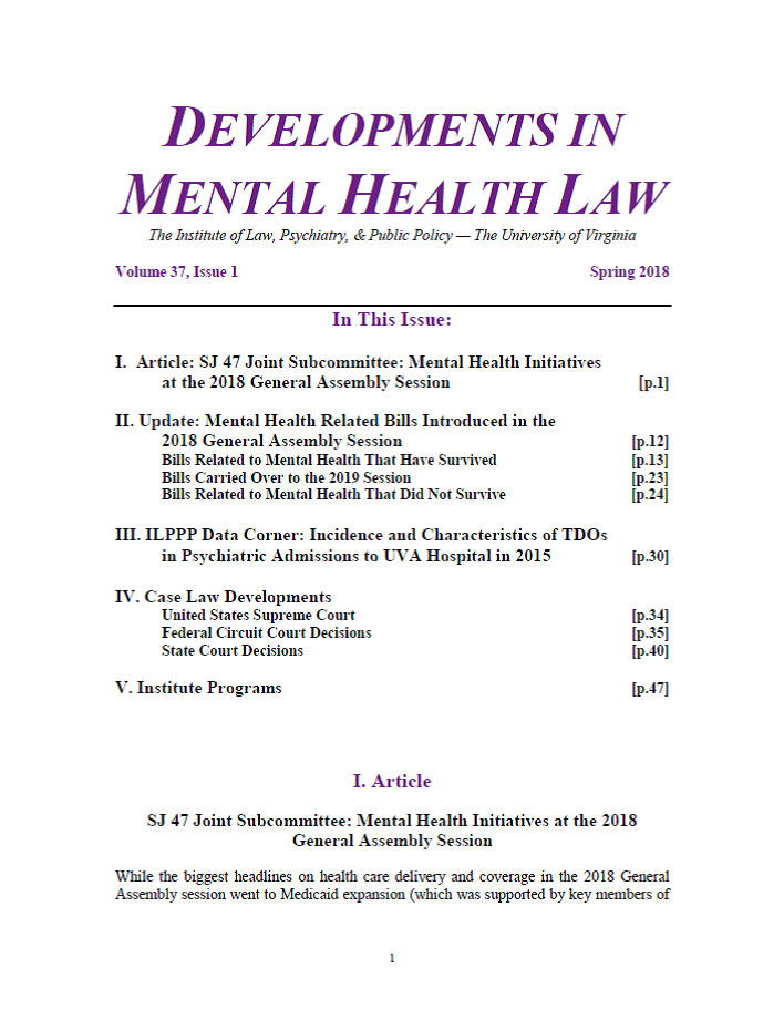 Developments in Mental Health Law — UVA Mental Health Policy