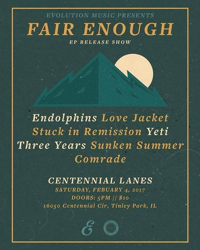 Doing this show differently, come be apart this. - - - - - - - - - #lovejacket #yeti #stuckinremission #sunkensummer #comrade #localshow #threeyears #hardcore #poppunk #centennial