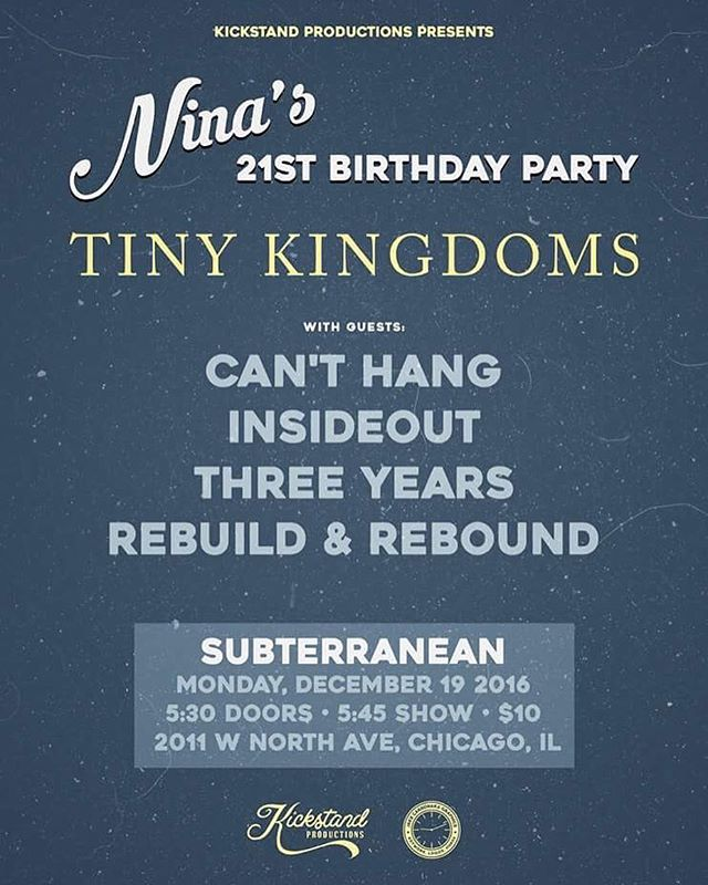 This is happening today at SubT. Who's going? #localmusic #chicago #subterranean #subt #threeyears #melodic #hardcore #debutalbum #tinykingdoms #insideout #rebuildandrebound #show #l