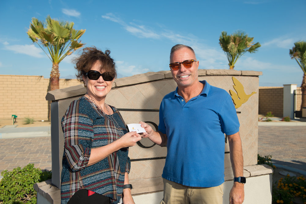 Happy Camper & New Domani Homeowner Felice Chiapperini with Hemmigway Group CEO, Kathleen Ahlgren before the gates opened for the Phase 5 Sales Release. ( Photo Credit: Daniel J. Eslinger)