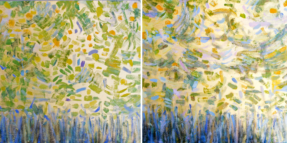 Growth Part I and II#30 x 60 in.total, diptych