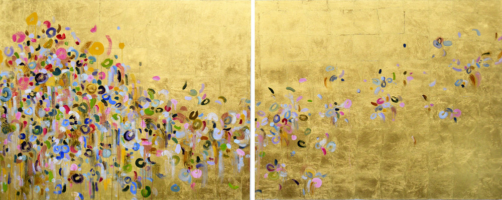 On the Run<br>48 x 120 in. total, diptych