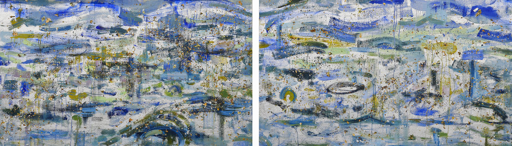 Subconscious Flow*<br>33 x 110 in. total, diptych