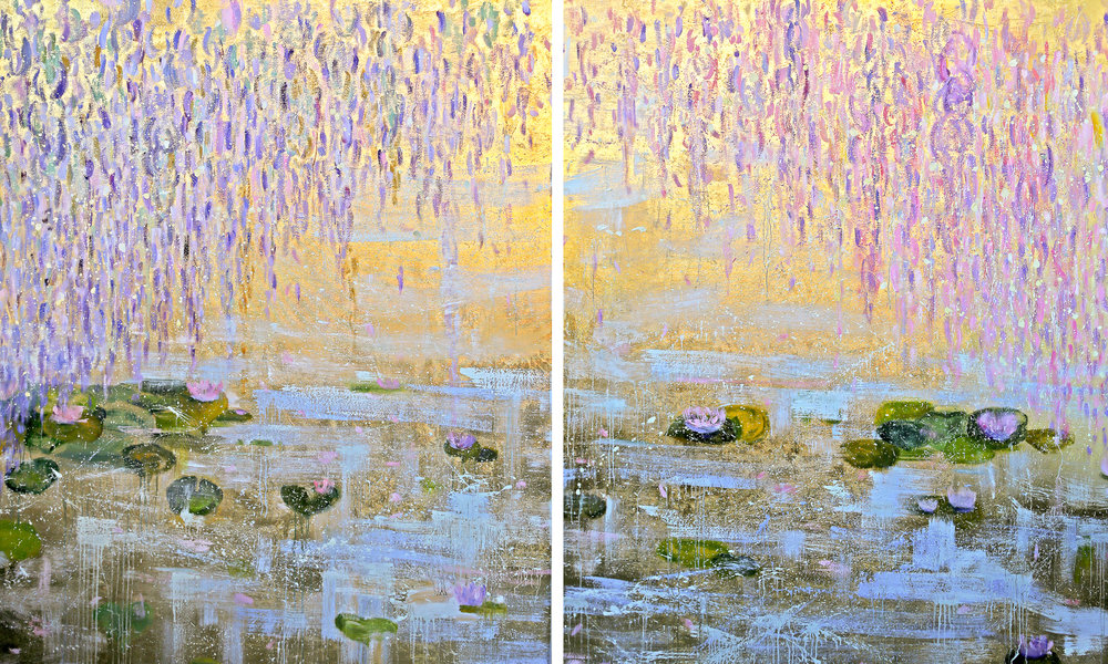 Lotus I & II#72 x 120 in. total, diptych