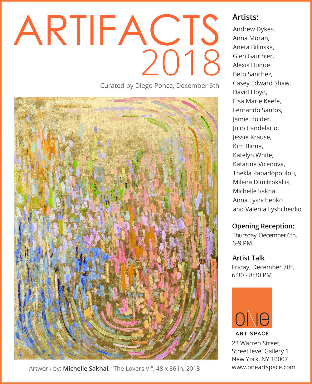 ARTIFACTS - A group show with artists linked by their interest in the ephemera and residue created by the movement of human life and history, and the need to use art as a tool and a process and to understand our present world.December 6 - 11, 2018One Art Space23 Warren Street - Gallery 1, New York NY 10007Opening reception Thursday December 6th, 6-9 PM