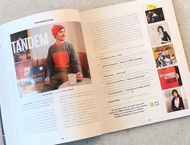 The latest #nowspinning column in @thebean_magazine features @tandemcoffeeroasters in one of my all time favorite places on earth: Portland, Maine. Had a fun chat about music, vinyl, coffee and more.