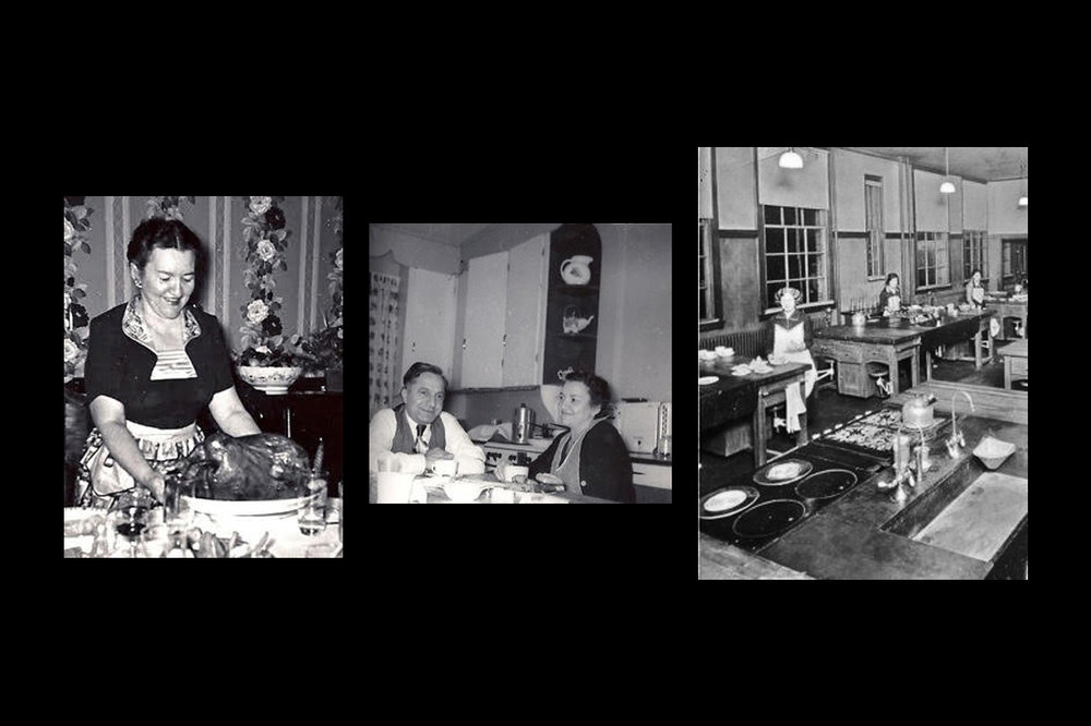 Left to right: Mom Thanksgiving / Mom & Dad coffee meal 1957 / Mom in the middle at Fannie Farmer Cooking Class 1922