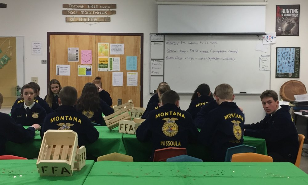 1st year members getting ready to take their test and to interview for their Greenhand Degree (the first degree you can receive in FFA).  They will be tested on basic agricultural information, the FFA history and then will recite the 5 paragraph FFA Creed.