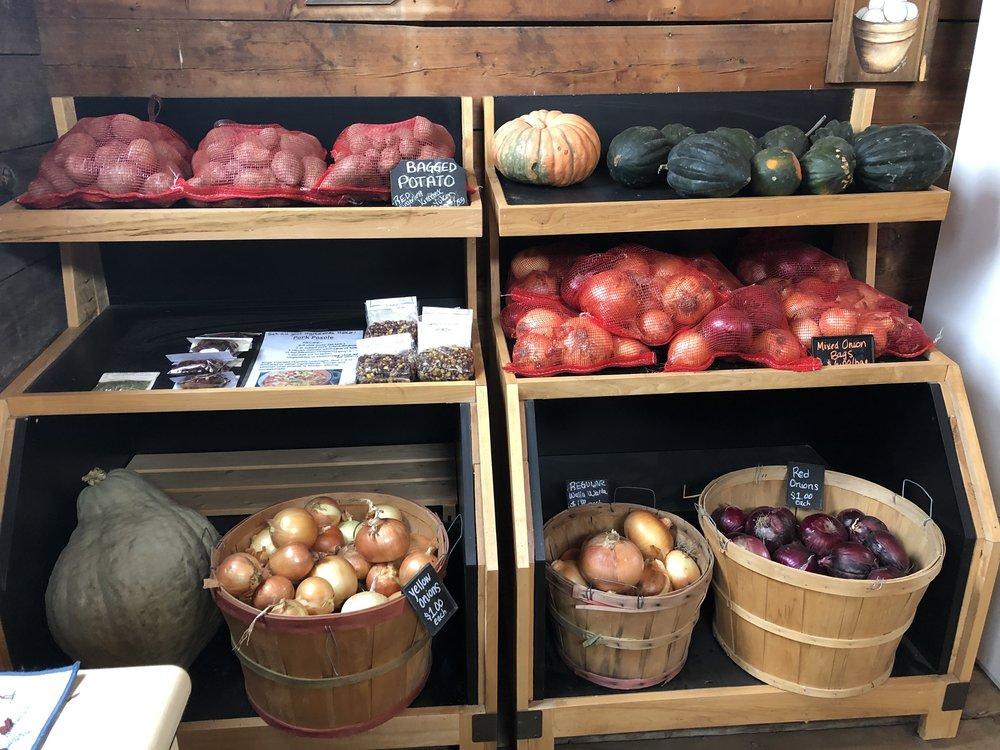 Still loads of onions, POTATOES and winter squash!
