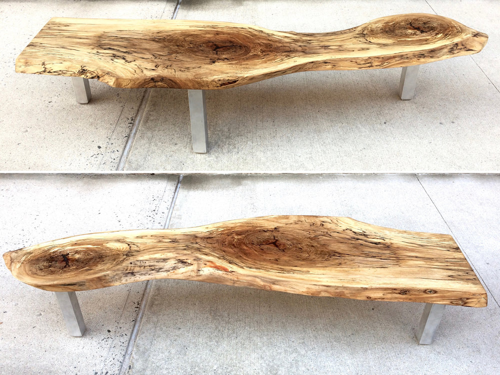 SPALTED SYCAMORE AND ALUMINUM BENCH FROM SHIMANSKY DESIGN