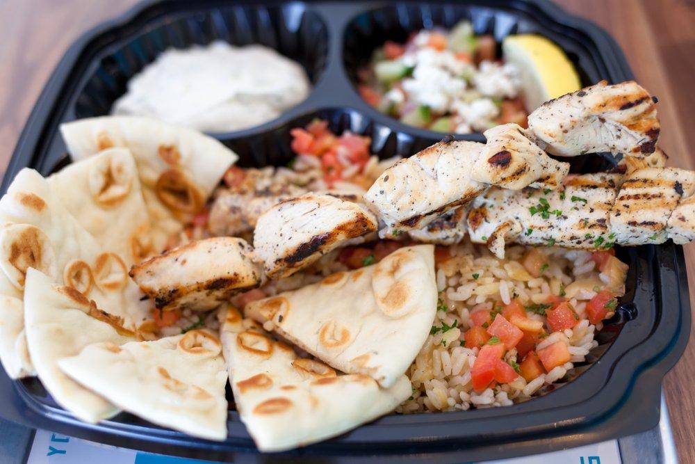 Chicken souvlaki platter never looked so good