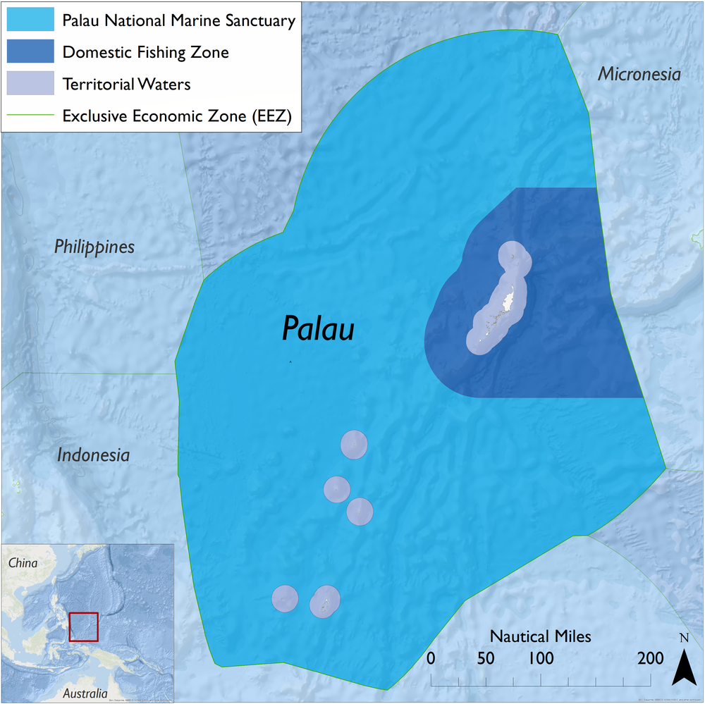 The Palau National Marine Sanctuary (est. 2015) covers approximately 193,000 square miles -- 80% of Palau's Exclusive Economic Zone (EEZ; 3 to up to 200 miles offshore). The remaining 20% of the EEZ is a Domestic Fishing Zone, which allows some forms of commercial fishing. Palau's territorial waters (0 to 3 miles), home to many coral reefs, are governed by other state and national laws and management programs. Map: L. Fairbanks; Sources: marineregions.org, protectedplanet.net, Esri. (Click to enlarge)