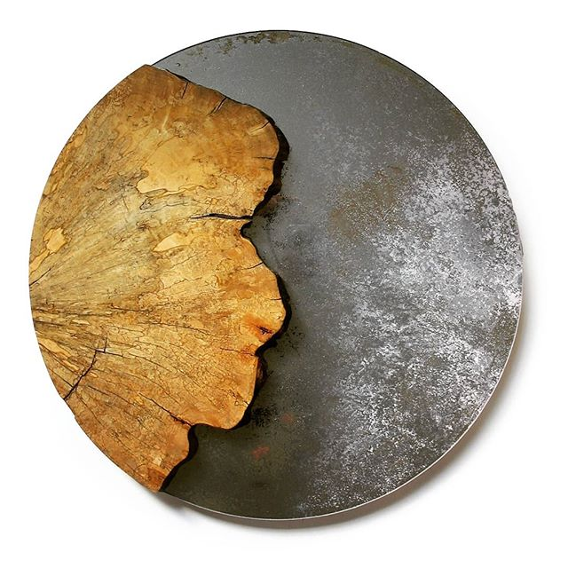 Distressed mirror with spalted maple