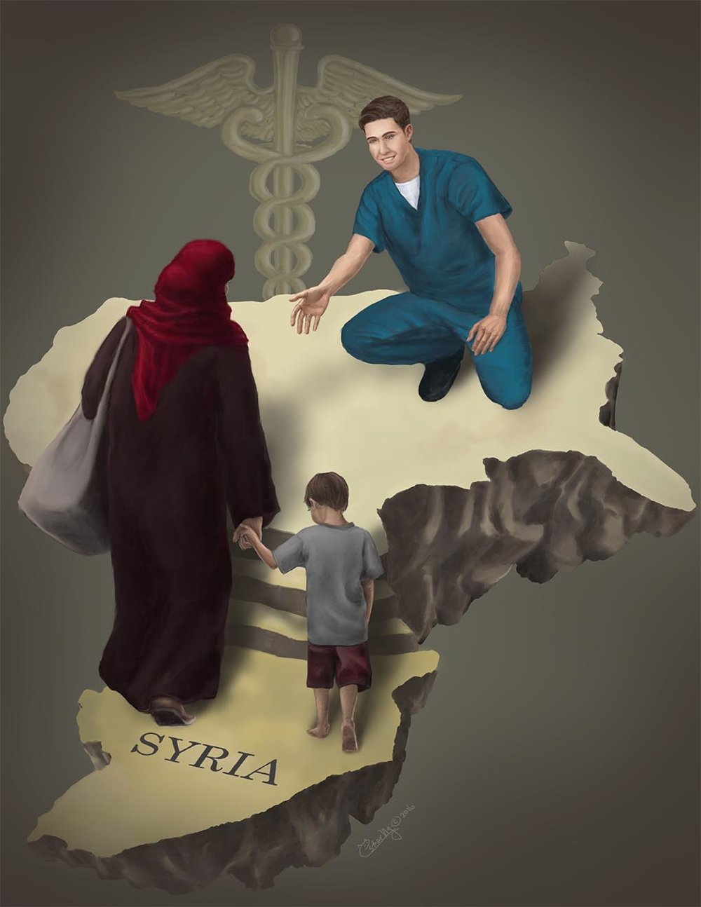 A Helping Hand This editorial piece is created to accompany an article in the Northwestern Public Health Review discussing the health care for migrants from Syria.