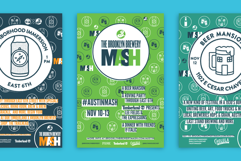 Posters using the branding identity I designed for the international beer tour, The Brooklyn Brewery Mash.