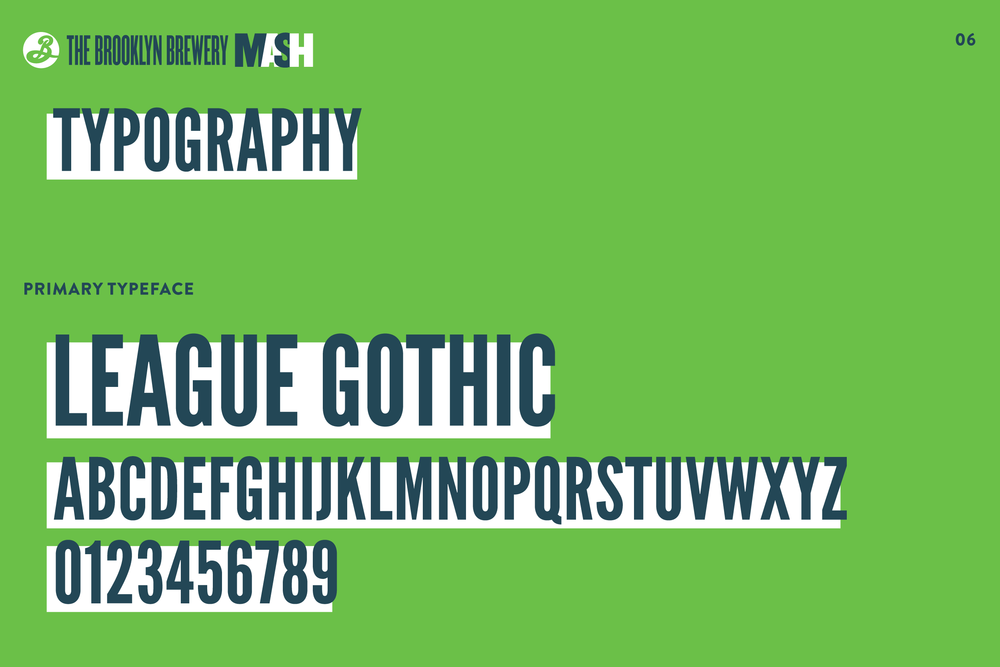 Typography page from the branding identity style guide for the Brooklyn Brewery Mash events.