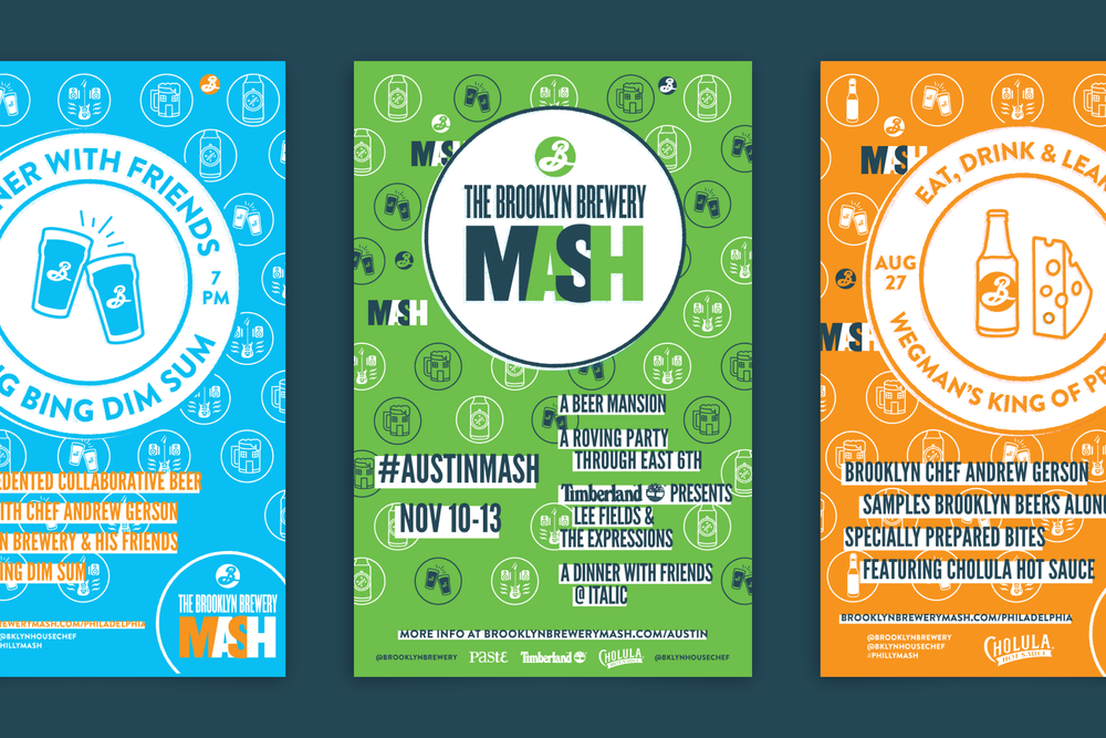 Colorful, typographic and patterned print poster designs for the Brooklyn Brewery Mash.