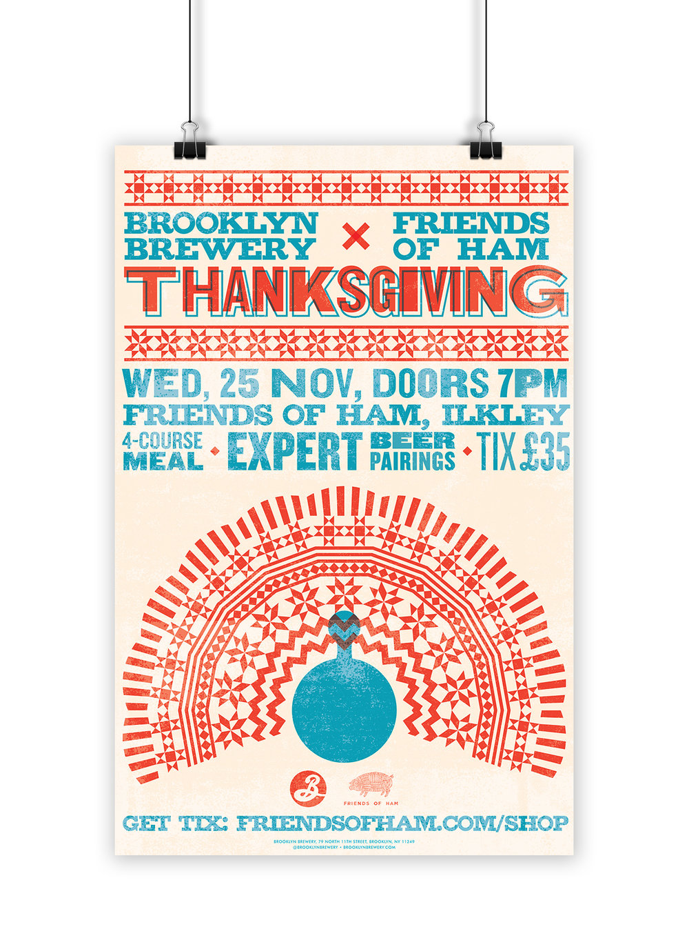 Letterpress print poster design for a Thanksgiving themed event for Brooklyn Brewery.