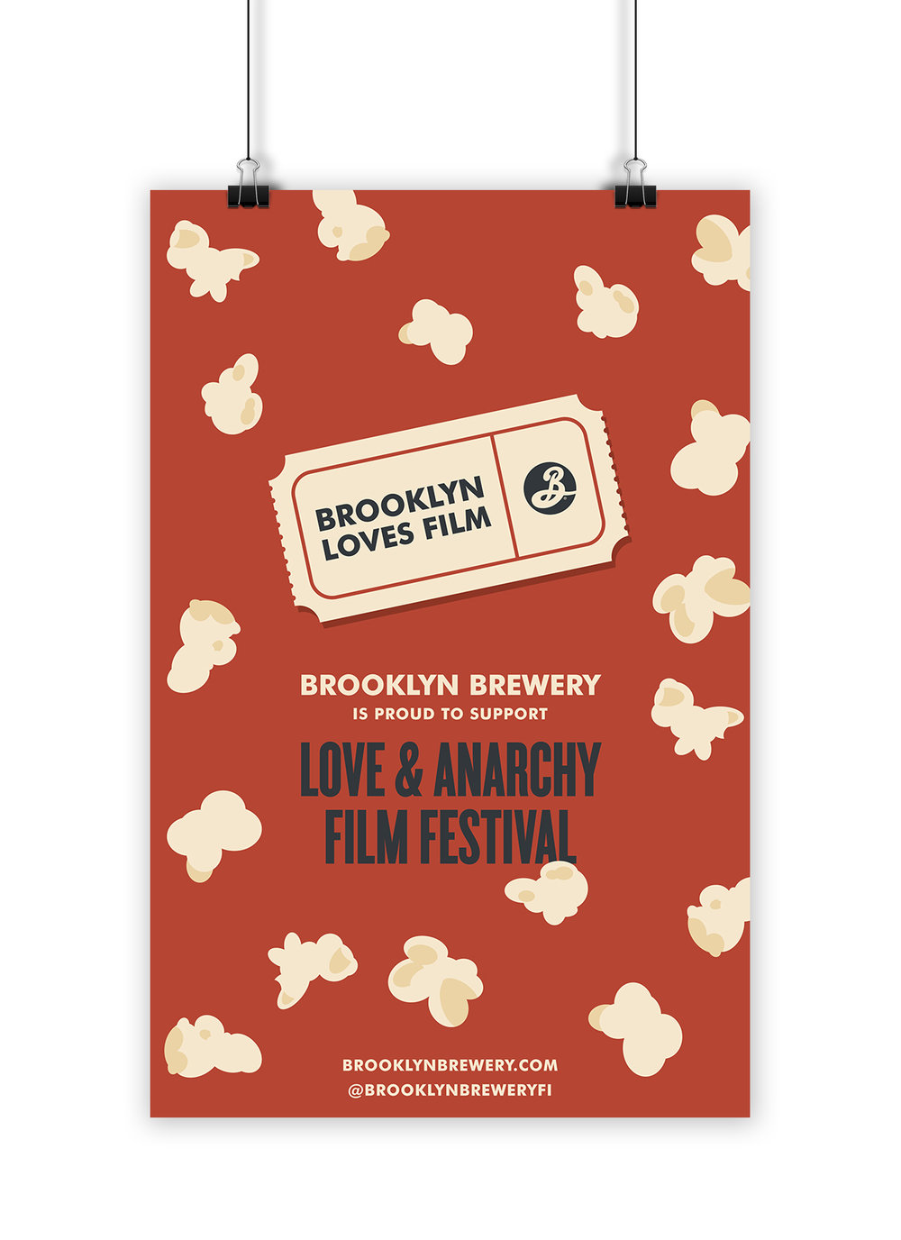 Branding identity and print poster design for Brooklyn Brewery supporting a Finnish film festival.