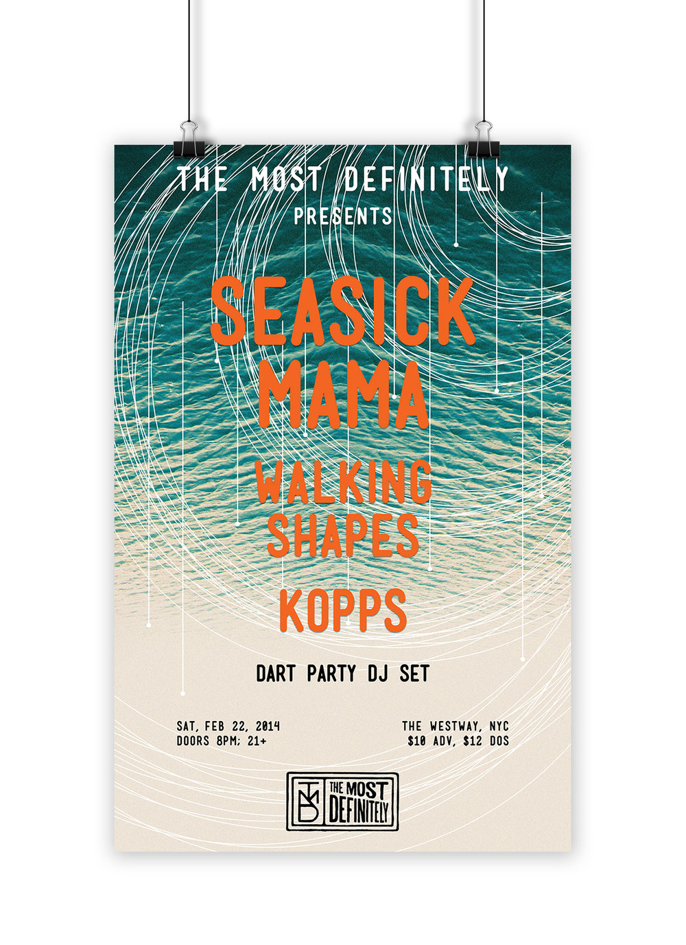 Concert poster print design for a live show featuring Seasick Mama, Walking Shapes, Kopps, and Dart Party, for music blog The Most Definitely.