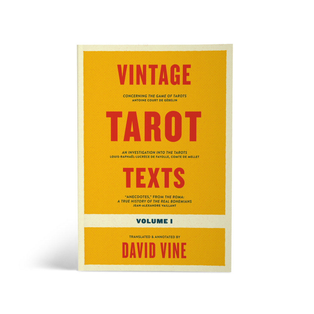 Typographic book cover design for a small publisher's collected works of vintage tarot essays.