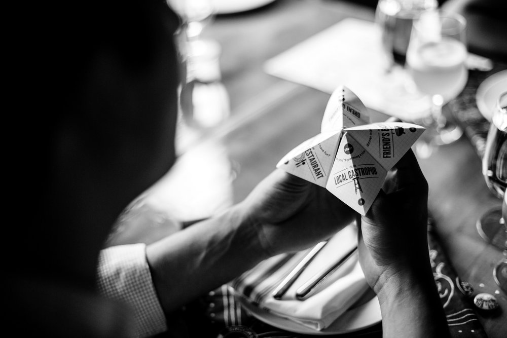 Gamified fortune teller menu design for beer pairings.