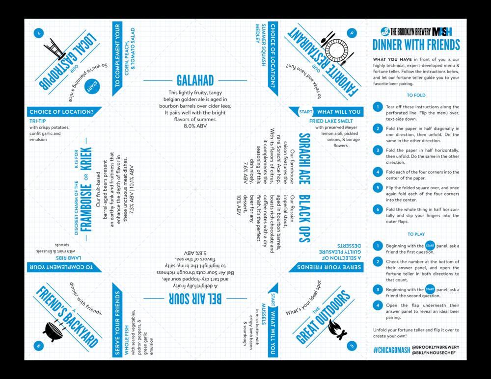Print design of the flat fortune teller menu.