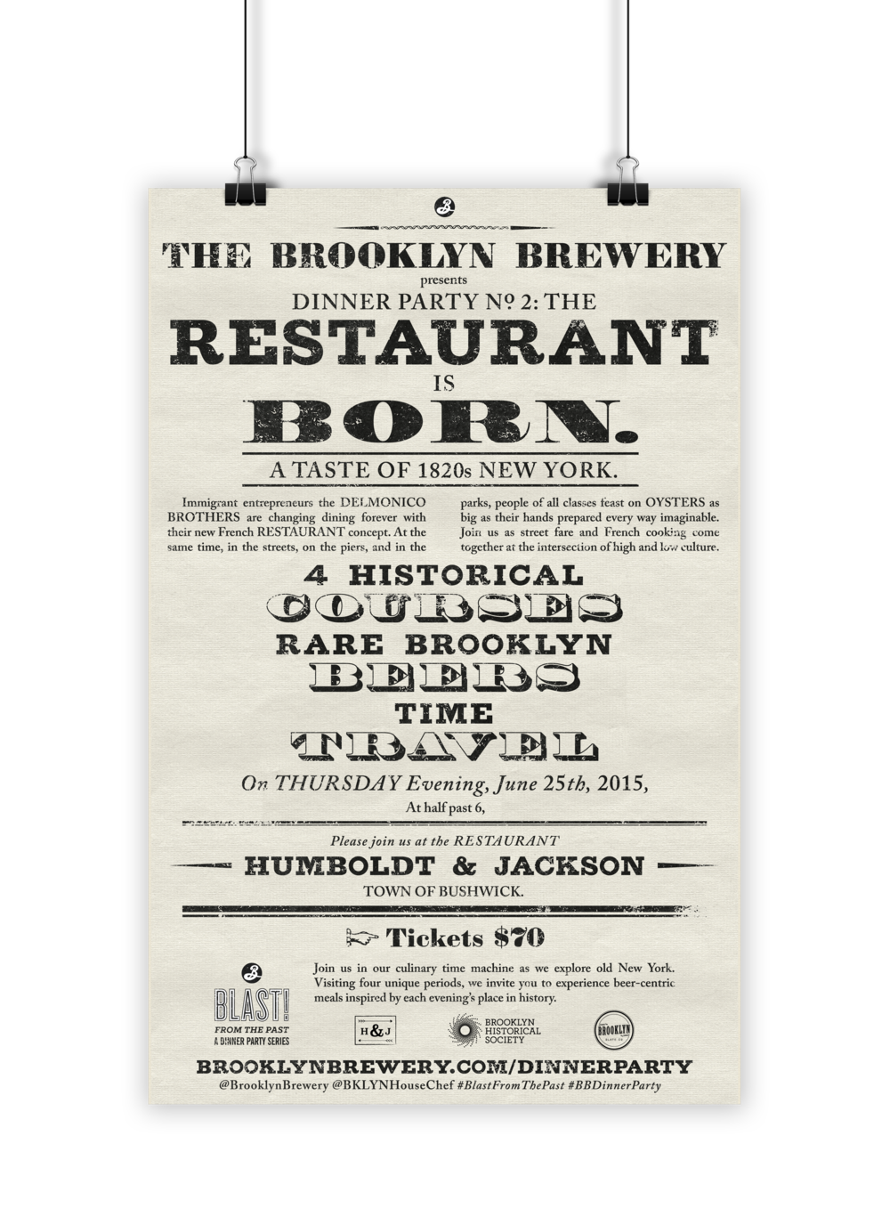 Typographic recreation of a historical broadside; poster design for a Brooklyn Brewery 1820s-themed Dinner Party, 2015.