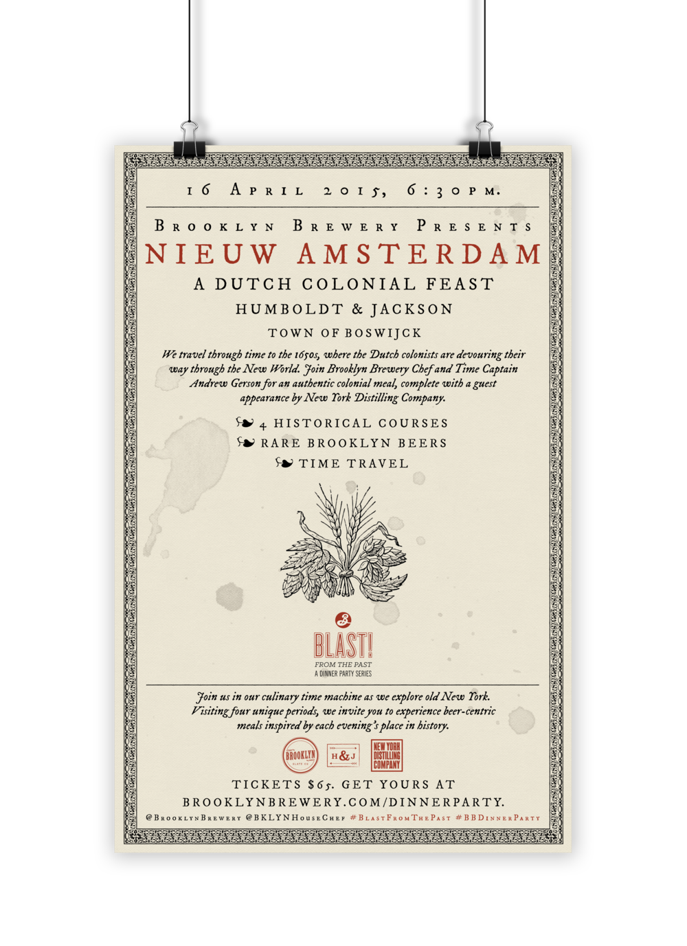 Historical typographic poster design for a 1650s Nieuw Amsterdam themed dinner, Brooklyn Brewery, 2015.