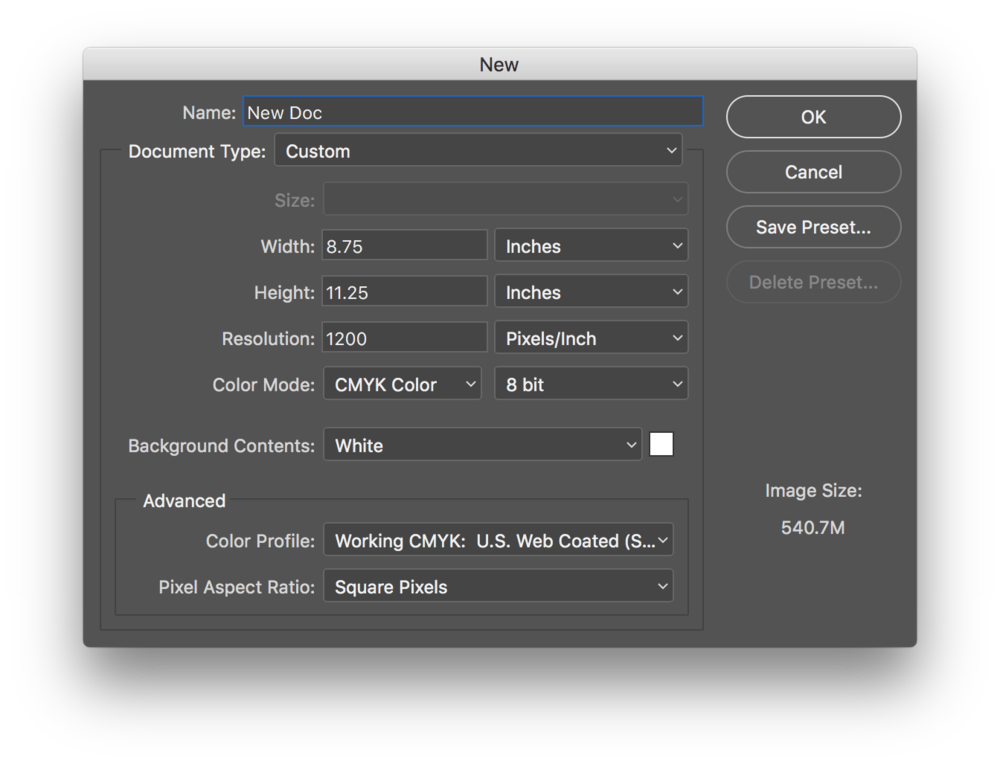 "To create an 8.5"" x 11"" print-ready document using text in Photoshop, use these settings in the New Document window."