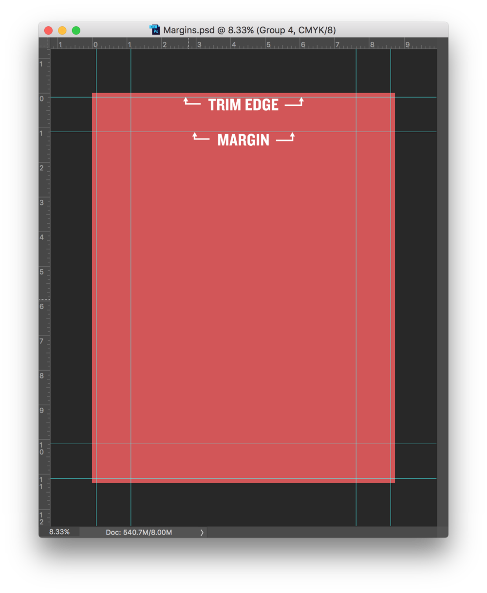 "This graphic shows a Photoshop window with proper trim edge Guides and 1"" margin Guides."