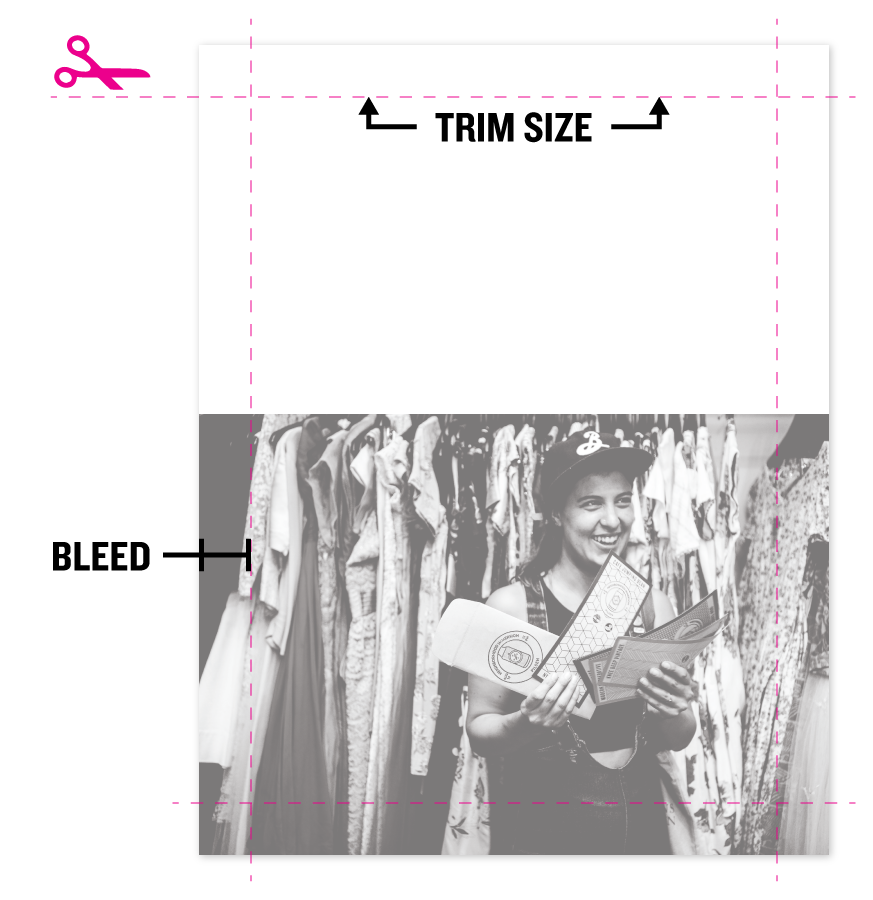 This graphic shows a document with a full-bleed image, and trim lines and bleed indicated.