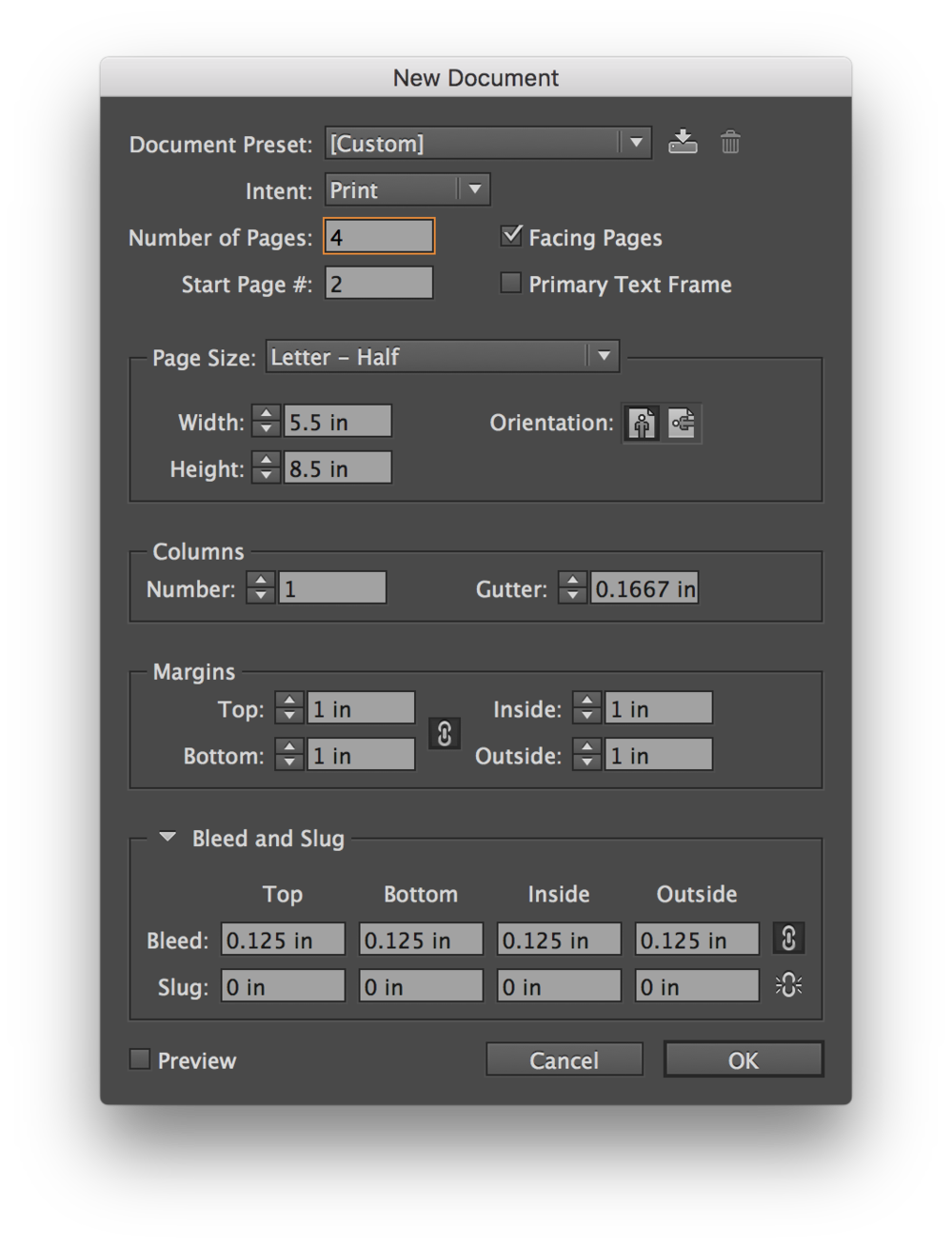 "InDesign's New Document window, pre-filled with a 5.5"" x 8.5"" half-fold brochure."