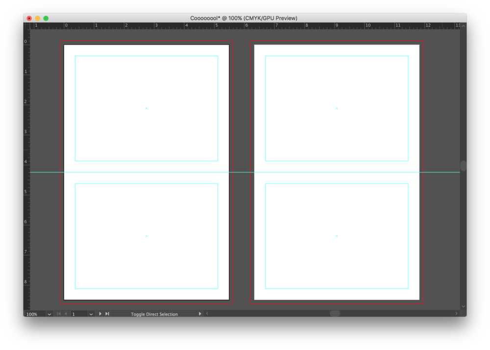 This is a screenshot from Adobe Illustrator, showing the inside and outside of our A2 folding cards with non-printing Margin and Folding Guides.