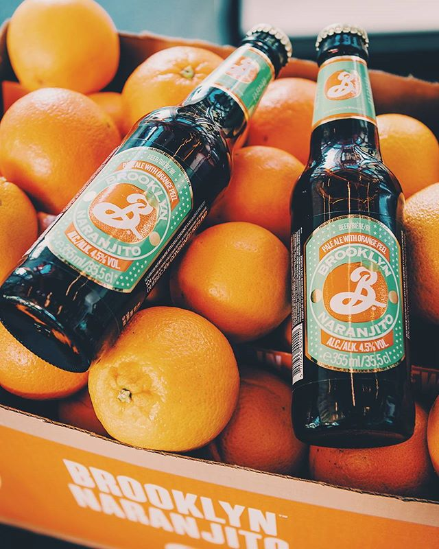 Beer labels I designed for @brooklynbrewery! Just found this pic of these #Naranjito bottles on some orange cuties. -- #beerlabel #labeldesign #packaging #packagingdesign #beerbottle #graphicdesign #design #orange #cuties #brooklyn #beer #craftbeer #graphicdesignblg #designspiration