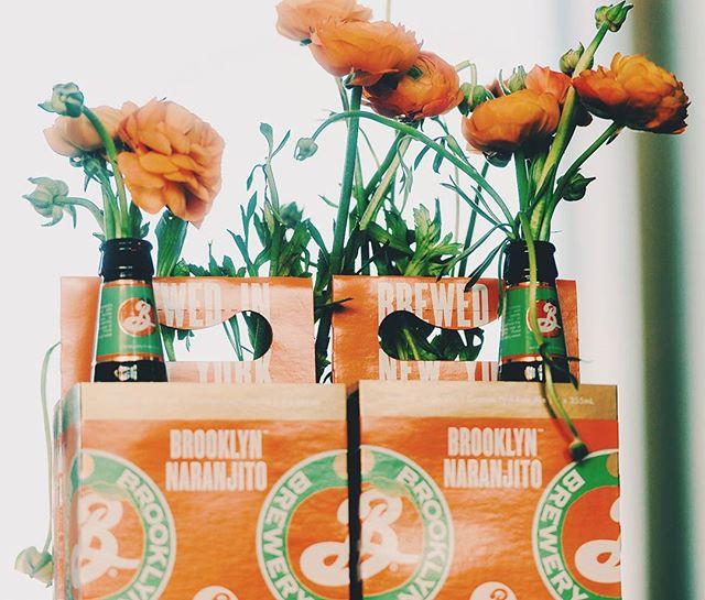 Beer labels & 4pk I designed for @brooklynbrewery, beautifully repurposed 🌸🌺🌼 -- #beerlabel #labeldesign #packaging #packagingdesign #beerbottle #graphicdesign #design #orange #flowers #bouquet #flowerstyling #brooklyn #beer #craftbeer #graphicdesignblg #designspiration