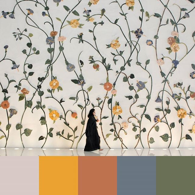 Here's a color palette from the Grand Mosque in Abu Dhabi, UAE, one of the most beautiful spaces I've ever been in. -- #colorpalette #creativelife #colorventures #chasinglight #agameoftones #colorinspo #colorinspiration #colors #colortheory #colorgram #designspiration #design #graphicdesign #travel #travelphotography #dubai #abudhabi #grandmosque #mosque #architecture #designdetails #flowers #floral #minimalism